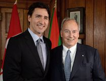 Prime Minister Justin Trudeau meets with the Aga Khan on Parliament Hill in Ottawa on Tuesday, May 17, 2016. THE CANADIAN PRESS/Sean Kilpatrick
