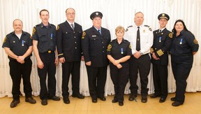 Eight of the 11 honoured with 12-year service pins gathered together at the 2017 Firefighter Appreciation Ball at the Kitscoty Hall  on Friday, February 10, 2017, in Kitscoty, Alta. Taylor Hermiston/Vermilion Standard/Postmedia Network.