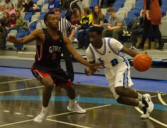 Elisee Dondon of the Keyano Huskies men's basketball team tied a season-high performance Saturday against the GPRC Wolves with 17 points as the Huskies earned their first true weekend sweep of the season. Robert Murray/Fort McMurray Today/Postmedia Network