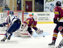 Timmins Rock goalie Albert Rogers gathers in the rebound from a shot by Cochrane Crunch forward Bailey Shaver during the second period of Tuesday night's NOJHL game at the Tim Horton Event Centre. The Crunch dumped the Rock 6-1 to snap Timmins' four-game winning streak and increase their lead in the battle for second place in the NOJHL's East Division standings to 10 points. The Rock, however, have six games in hand on their rivals. THOMAS PERRY/THE DAILY PRESS