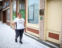 Central Albertan Tara Laidlaw, pictured here in downtown Lacombe, will make a 74-day walk to Texas this summer to help raise awareness for mental health and give back to the campaign Always Keep Fighting. (Ashli Barrett/Lacombe Globe)