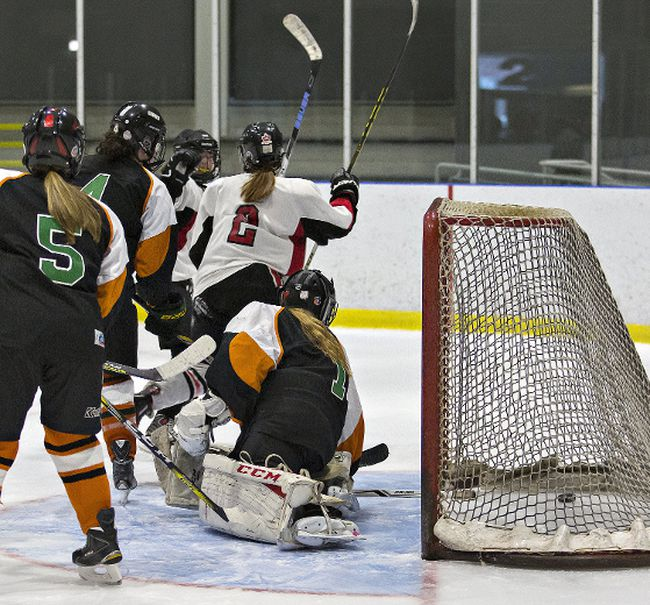 Lindsay Kirkpatrick (No. 2) of Paris celebrates scoring on North Park  goalie Erin Kerr during a high school girls semifinal hockey game on Wednesday F at the Wayne Gretzky Sports Centre. (Brian Thompson/The Expositor)