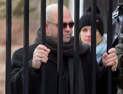 Arpad Horvath watches as Elizabeth Wettlaufer leaves the Woodstock courthouse after a Jan.13 appearance. Horvath was back in court for Wettlaufer's appearance by video link Wednesday. (MORRIS LAMONT, The London Free Press)