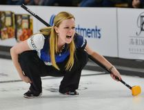 Team Carey skip Chelsea Carey yells commands to her teammates during the first semifinal match of the 2017 Pinty's All-Star Curling Skins Game in Banff, Alta. on Feb. 3, 2017. (Daniel Katz/Postmedia)