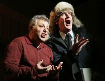 Paul Amato as Giuseppe and Scott Maudsley as the Chief, rehearse a scene from Sudbury Theatre Centre's Moose on the Loose in Sudbury, Ont. on Tuesday February 14, 2017. Gino Donato/Sudbury Star/Postmedia Network