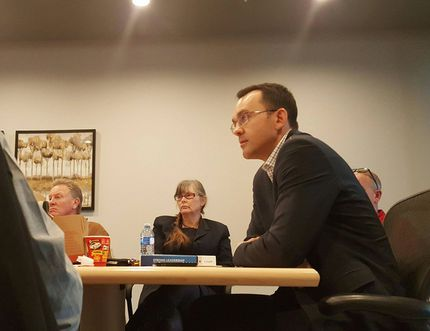 Member of Parliament for Banff-Airdrie Blake Richards speaks to a group of residents about his concerns that the federal goverment uses descretion to determine what businesses do not qualify for small business tax breaks at Rageland RV in Balzac, Feb 9.