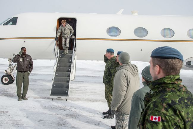 Gen. Lori Robinson, commander NORAD, is greeted by Col. Henrik Smith, 22 Wing commander, during her visit to 22 Wing/CFB North Bay Feb. 15. The purpose of this visit was to meet with members of 22 Wing North Bay and to observe the Canadian Air Defence Sector's mission.