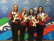 Team Rocque consisting of (left to right) third Danielle Schmiemann, lead Taylore Theroux, skip Kelsey Rocque and second Taylor McDonald, won gold at the winter world university games. (Supplied photo)