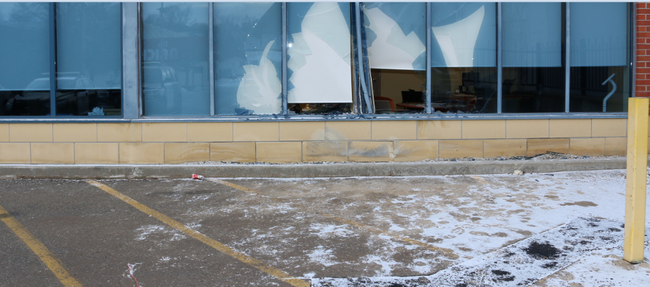 A vehicle collided with Royal Bank building in Simcoe in the early morning hours of Feb. 16. (OPP/Photo)