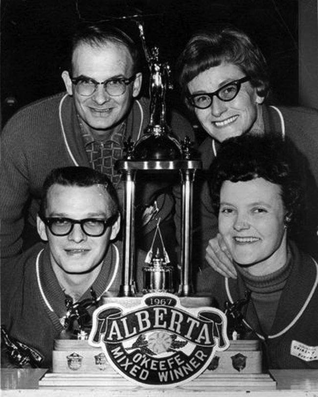 GP's Gerry Fisher rink with (clockwise from top left) Fisher, Helen Ellis, Shirley Fisher and Don Richards, won the Alberta mixed curling title. The team finished fourth at the nationals.