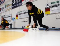 Ellen Gleich delivers a rock at the Grande Prairie Curling Club on Feb. 9. Gleich will be playing in the Alberta 55+ Provincial Curling Championships this weekend at the curling club. Logan Clow/Daily Herald-Tribune