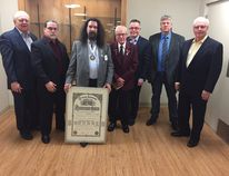 The Beaumont Knights of Columbus Conseil Lapointe retuned their charter after serving Beaumont for 43 years on Feb. 11 because of a lack of new members. (L-r) Maurice Potvin, Ron Duguay, Rick Duguay, Rodrigue Lalonde, Camille Bérubé, Alain Bertrand, and Gerry Goudreau.