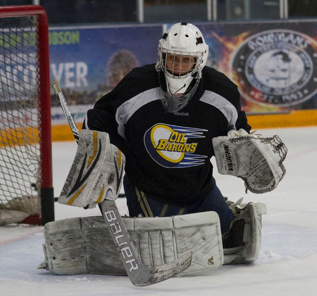 Fort McMurray Oil Barons affiliate goaltender Chris Curr practices with the MOB Wednesday ahead of their final home stand this season. Curr will start Saturday's game against the Olds Grizzlys. Robert Murray/Fort McMurray Today/Postmedia Network