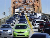 Heavy traffic and many large truck use the old Pattullo Bridge during rush hour here in New Westminster on June 3 , 2013. (Mark van Manen/Postmedia Network)