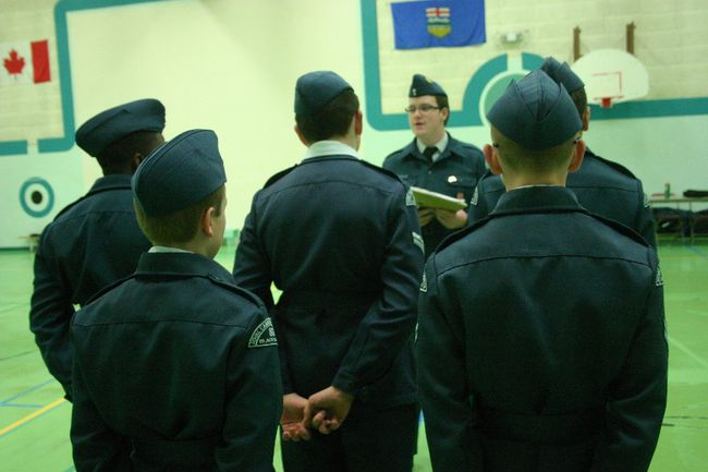 "Members of the 831 Leduc Squadron of the Canadian Air Cadets program go through the process of ""parading,"" which involves ensuring they have a professional look, working on proper formations, and stances to help them with their self-confidence, self-discipline and leadership. The group parades out of three different Leduc schools, including St. Benedict's School on Tuesday nights, as pictured here on Feb. 7. The squadron is currently looking for a location within the city where they can parade out of on a regular basis. Bobby Roy/Regional Editor"