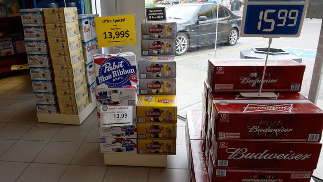 Beer is on display inside a store in Drummondville, Que., on Thursday, July 23, 2015. THE CANADIAN PRESS/Ryan Remiorz