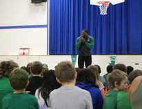 Henoc Muamba is one of the newest Saskatchewan Roughriders to be added to the roster. He shared his faith talk at Wagner Elementary February 17.