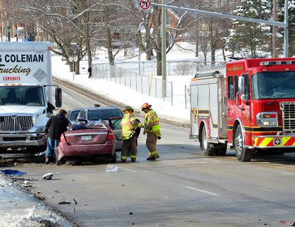 The aftermath of a collision on the 10th Street East hill in Owen Sound.