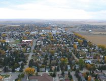 PAUL KRAJEWSKI HIGH RIVER TIMES/POSTMEDIA NETWORK. A view of High River's south side from a hot air balloon during the launch flight of the annual Heritage Inn International Balloon Festival on Sept. 21, 2016.