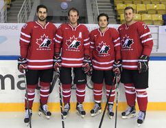 (Left to right) Corey Durocher, Mike McNamee, Brett Welychka and Ryan Van Stralen competed for Team Canada at the Universiade Games and won a bronze medal. The four of them also play on the Carleton Ravens hockey team. (Contributed photo)