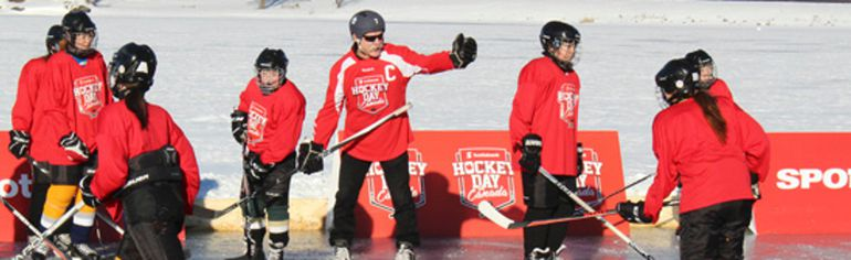 NHL veteran Lanny McDonald coaches Kenora Pee Wee girls hockey players on the ice at Saftey Bay during HockeyFest Saturday, Feb. 18. 