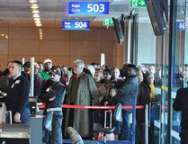 Passengers of a Turkish Airlines flight to Toronto wait at the boarding gate in Istanbul's Ataturk international airport, Saturday, Feb. 18, 2017. (DHA-Depo Photos via AP)