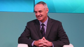 Major League Baseball commissioner  Rob Manfred speaks on stage at the Yahoo Finance All Markets Summit on Feb.  8, 2017 in New York City. (Rob Kim/Getty Images for Yahoo Finance)