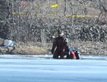 The OPP dive unit out of Gravenhurst recovered the body of a man Sunday who went through the ice at the Waterford North Conservation Area on Saturday. MONTE SONNENBERG / SIMCOE REFORMER