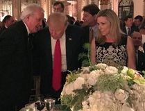 Former prime minister Brian Mulroney talks with U.S. President Donald Trump in Palm Beach, Fla., Saturday, Feb. 18, 2017. THE CANADIAN PRESS/Palm Beach Daily News-Shannon Donnelly