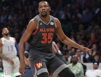 Kevin Durant of the Golden State Warriors in action during the 2017 NBA All-Star Game at Smoothie King Center on February 19, 2017 in New Orleans, Louisiana. (Ronald Martinez/Getty Images)
