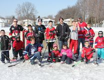 <p>Celebrating Hockey Day in Canada at Menard Park on Saturday February 18, 2017 in Cornwall, Ont. The ice was more slush than solid, but that didn't stop these people from playing hockey.</p><p> Lois Ann Baker/Cornwall Standard-Freeholder/Postmedia Network