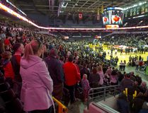 A large crowd on Family Day stands for the national anthem at Budweiser Gardens before the NBL game between the London Lightning and Halifax Hurricanes. Budweiser Gardens made the city more than expected in 2016. (MIKE HENSEN, The London Free Press)
