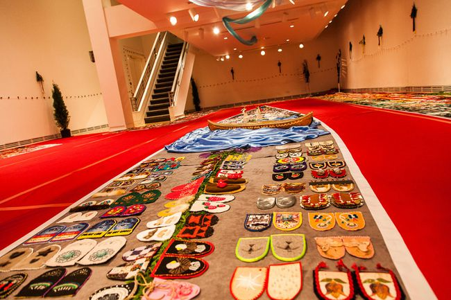 Hundreds of moccasin vamps, made by people around the world make up the Walking With Our Sisters travelling exhibit, which commemorates hundreds of murdered and missing and murdered aboriginal women and girls in Canada. (Postmedia file photo)