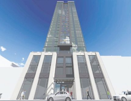 Architect's concept shows Rygar's proposed 27-storey apartment tower at 150 Dundas St., just east of Fanshawe College's new downtown London campus. (Supplied)