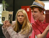 Sharpay (Darby Thorogood) and Ryan (Bradley Mitchell) spy on their competition for the lead role in the school musical in Bow Valley High School's production of High School Musical hitting the stage in a couple weeks.