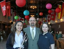 Submitted photo From left: Kaitlin (Grade 12 student and Active Citizenship Prefect), Mr. Scott Mills (Band Director and Instrumental Music Teacher) and Rosemary (Grade 12 student and Arts/Head Prefect).