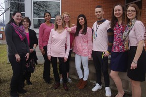 Staff at Oxford-Elgin Child and Youth Centre wore pink to support the anti-bullying campaign Pink Shirt Day on Feb. 22. From left to right: Anna Kudzia ,Deb Donovan, Mamta Chail-Teves, Toni Dibsdale, Melody Lippert, Darci Young, Andi Wawrzusiak, Carmen Jaques, and Vicki Wiebe. (HEATHER RIVERS, Sentinel-Review)