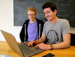 Queen's University students Morgan Roff, left co-founder of Connectiv8, and Paul Everitt, the sales director in Kingston. (Ian MacAlpine /The Whig-Standard)