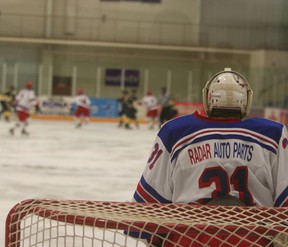 Clinton goalie Marc Nother at a recent Radars game. (Justine Alkema/Clinton News Record)