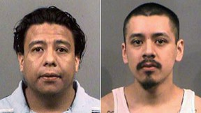 Omar Cantero Martinez, left, and his brother, Armando Sotelo, were sentenced Wednesday for their hate-crime attack on three Somalis. ((Sedgwick County Sheriff's Office via AP)
