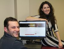 Antoine Vezina, community development co-ordinator with Timmins Economic Development Corporation, and Brittany Mohns, TEDC entrepreneurship program coordinator, were checking out the new regional jobs portal that was launched Wednesday. The TEDC was one of the partner groups behind the new initiative.