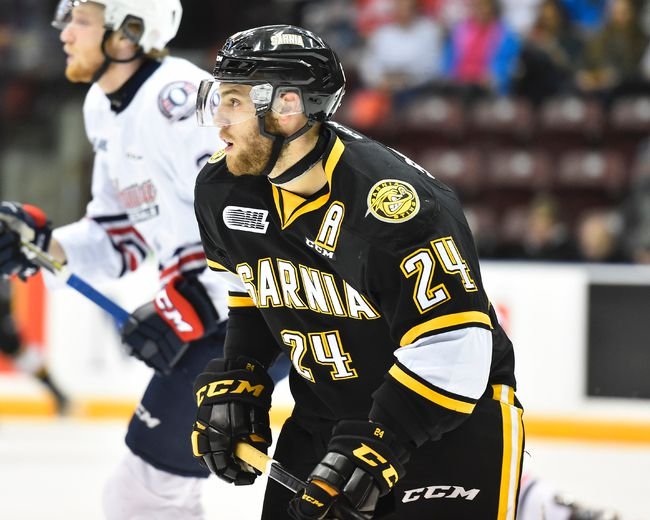 Sarnia Sting defenceman Kevin Spinozzi is eligible to return from his 10-game suspension Saturday night in Flint against the Firebirds. The 20-year-old captain has been banned since delivering a hit on Saginaw Spirit forward Damien Giroux on Jan. 29. (Aaron Bell/OHL Images)