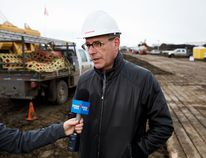 Enbridge chief operating officer Leon Zupan comments at the site of a pipeline spill near 92 Avenue and Anthony Henday Drive on Feb. 18, 2017.