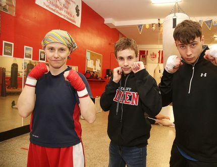 Top Glove boxers Jessica Brugess, Daniel Schmidt and Bruno Desrochers in Sudbury, Ont. on Wednesday February 22, 2017. The boxers are featured on this weekends card.Gino Donato/Sudbury Star/Postmedia Network