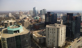 A view of downtown London from about 92 metres in the air from the construction crane at the Tricar construction site for the Azure Tower being built at Dufferin and Talbot in London, Ont. (MIKE HENSEN, The London Free Press)