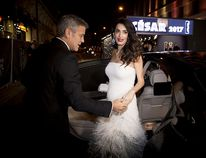 George and Amal Clooney arrive at the Cesar Film Awards 2017 at Salle Pleyel on Feb. 24, 2017 in Paris. (Francois Durand/Getty Images)