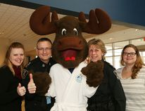 Polar Plunge organizing committee members Natalie Corcoran, left, and Heather Lewis, right, Greater Sudbury Deputy Police Chief Al Lekun and Sgt. Joanne Pendrak are ready to take the plunge on March 4 in Sudbury, Ont. John Lappa/Sudbury Star/Postmedia Network