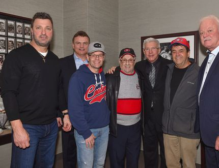Timmins resident and life-long Montreal Canadiens fan Rene Vezina, centre with red stripe, poses with former Habs players Stéphane Richer (playing career: 1984-2005), left, Brian Bellows (1982-1999), his son Don Vezina, Rejean Houle (1969-1983), his other son Larry Vezina, and Yvon Lambert (1970-1984) inside the Alumni Room at the Bell Centre in Montreal on Feb. 18.
