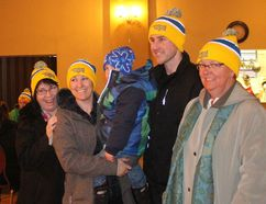 The Cornwall Community Police Service team of Jill Bilodeau, Tracey Pilon, with son Pat, Matthew Dupuis and Lynne O'Flaherty at the Knights of Columbus Hall before their Coldest Night of the Year fundraiser walk for Agape Centre on Saturday. Greg Peerenboom/Cornwall Standard-Freeholder