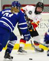 Inferno defender Katelyn Gosling passes the puck into the slot as the Calgary Inferno took on the Toronto Furies at the Winsport sportsplex in Calgary, Alta., on February 25, 2017. The Inferno won the game 3-1. They defeated the Furies again 3-1 on Sunday to claim the semifinal series.